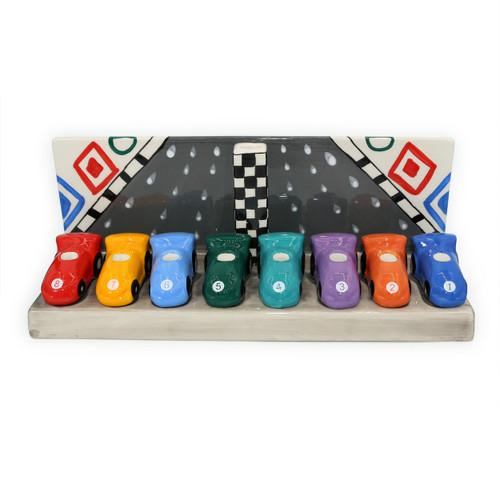 Ceramic Race car Menorah