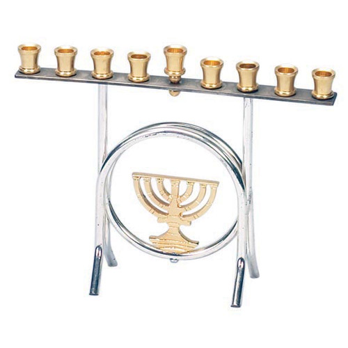 Silverplated standing Menorah with a menorah in the Middle