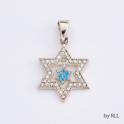 Silver Silver Star Within a Blue Star of David Pendant