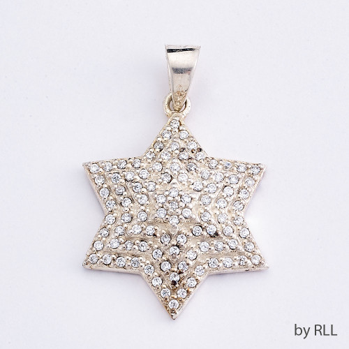 Silver Multi Lever Star Of David With 100+ White Cz