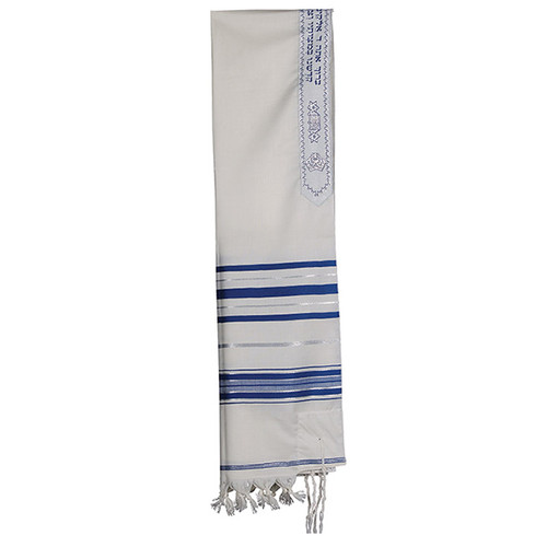 """Woll 24"""" Blue and White with Silver stripe Talit without bag"""