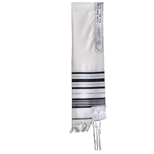 """Wool 18"""" Black and White with Silver stripe Talit without bag"""