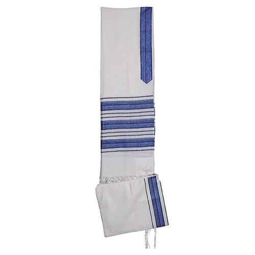 "18"" Blue and White stripe Talit no bag"