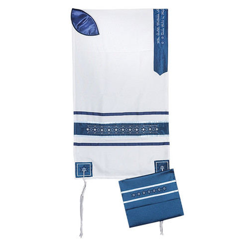 White & Blue with stars of David Talit no bag