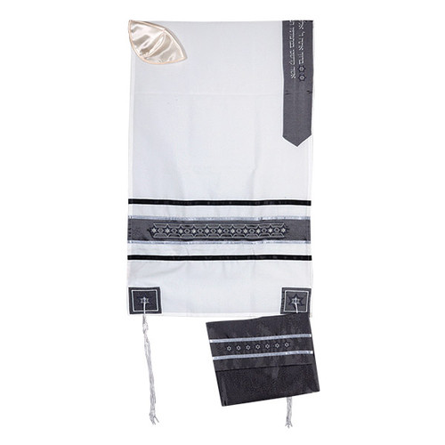 White & Black with stars of David Talit no bag