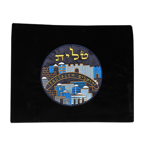Velvet Black Color Tallis Bag with Jerusalem design in the Middle
