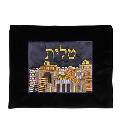 Velvet Black color back ground Tallis Bag with Jerusalem design in the Middle