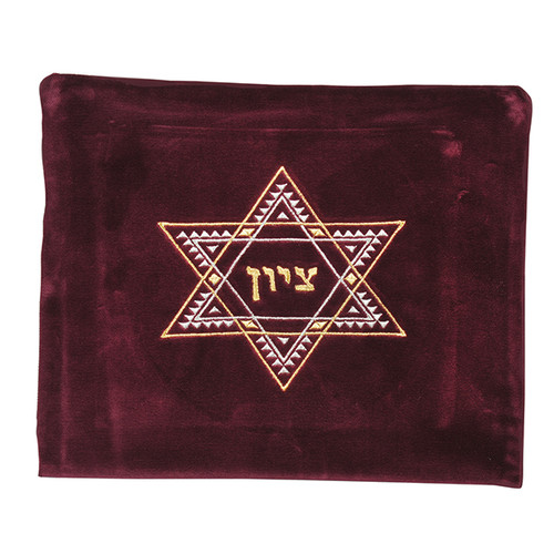 Velvet Maroon color Tallis Bag With Star of David