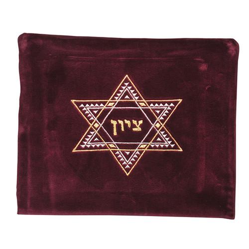 Velvet Maroon color Tallis Bag With Star of David