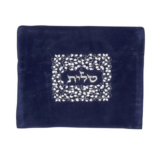 Velvet Navy Blue color Tallis Bag