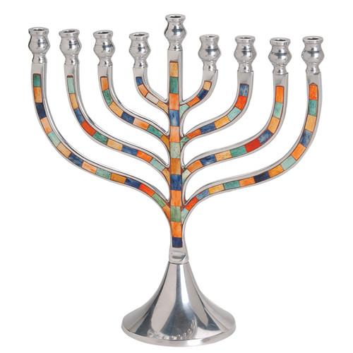 Tall Colorful Inlay Aluminum Menorah