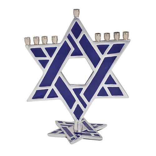Star of David Standing  Aluminum Menorah