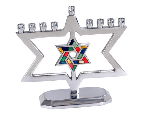 Star of David in Colorful Star Standing  Aluminum Menorah