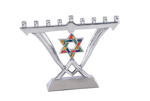 Aluminum Menorah With Small Star of David