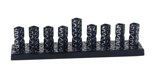 Black Aluminum Menorah With decoration