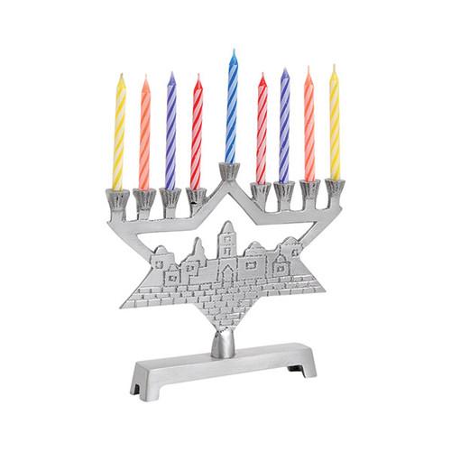 Mini Aluminum Menorah With Star of David and Jerusalem Background