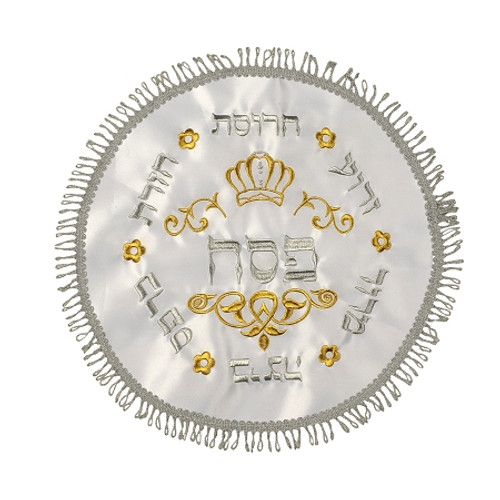 Round White Matzah Cover