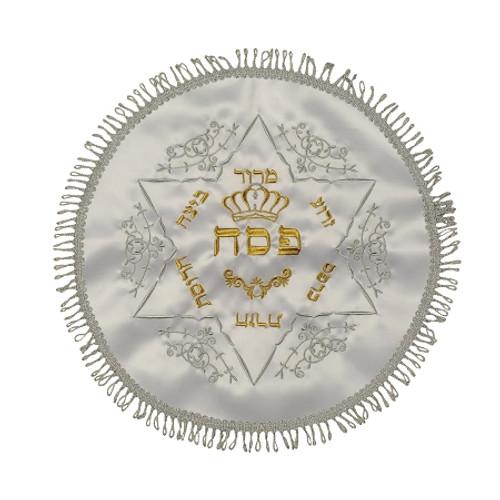 Round White Matzah Cover With Star of David