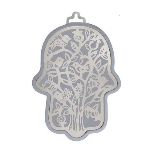 Emanuel Anodized Aluminum Hamsa with Tree Cutuout