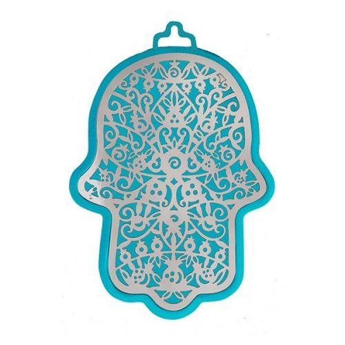 Emanuel Anodized Aluminum Hamsa with Pomegranate Cutuout