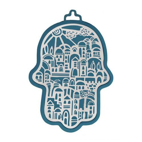 Emanuel Anodized Aluminum Hamsa with Jerusalem Cutout
