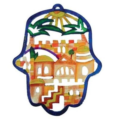 Emanuel Hamsa Jerusalem Wooden Cutout