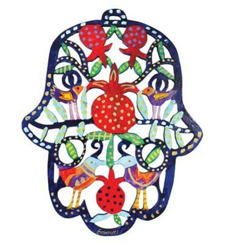 Emanuel Hamsa pomegranate Wooden Cutout