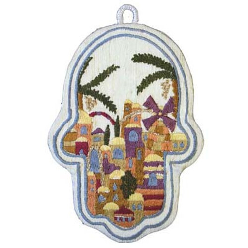 Hamsa Wall hanging Embroidered Jerusalem Design
