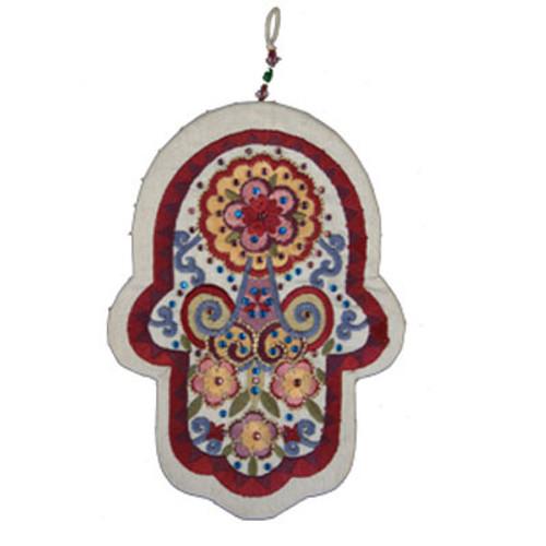 Wall Hanging Embroidered Hamsa Crystals