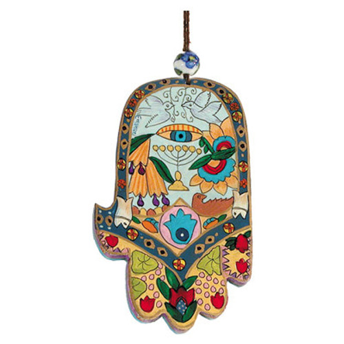 Emanuel Colorful Large Wood Painted Hamsa