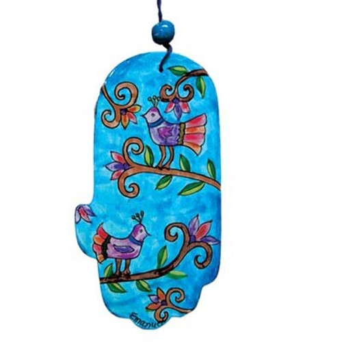 Emanuel Large Wood Painted Hamsa Peacock