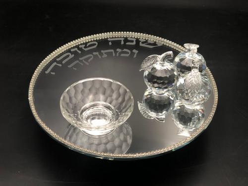 Honey Dish w/ Mirror Tray on Pedestal