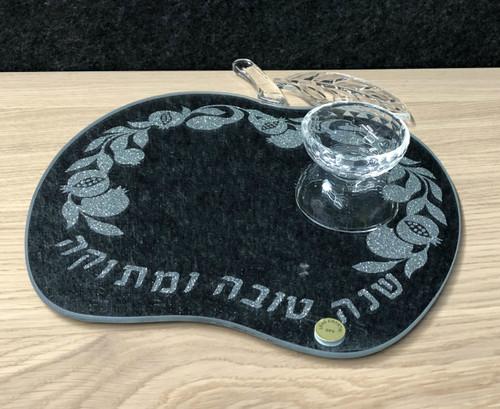 Honey Dish on Mirror Tray Apple Shape