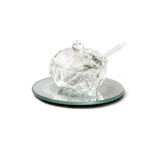 Small Crystal Honey Dish with Coaster