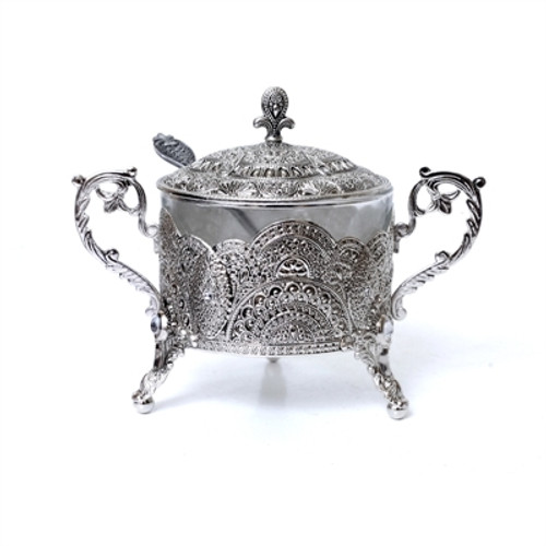 Honey Dish Silver Plated Filigree Design