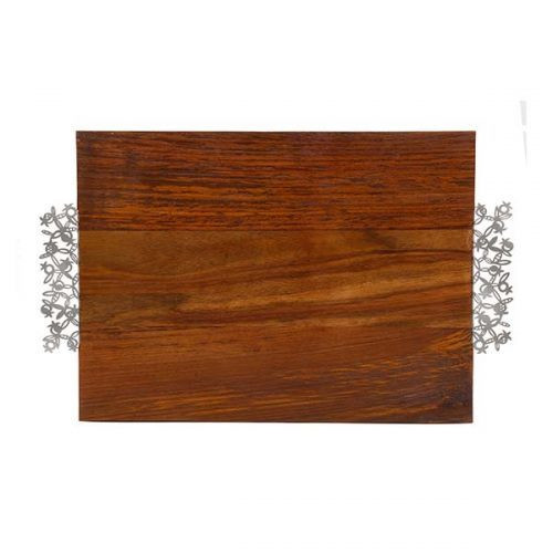 Emanuel Wood Challah Board with Laser Cut Handles - Pomegranates