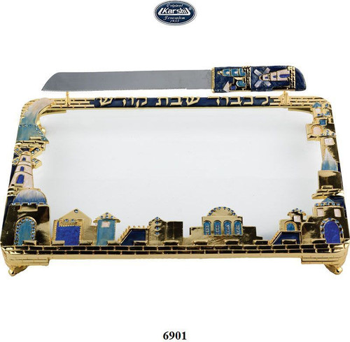 Jeweled Challa Tray with Knife Blue with Sapphire Crystals