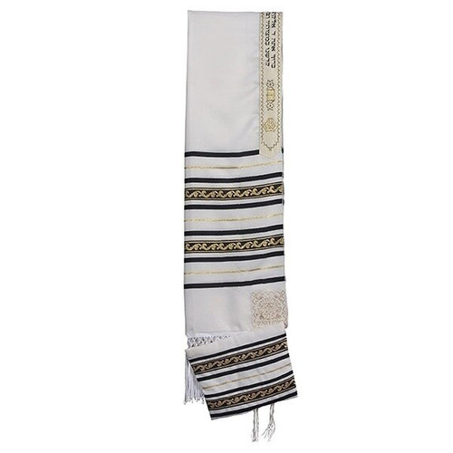 18 White Talit with Black Gold  Stripes  no bag