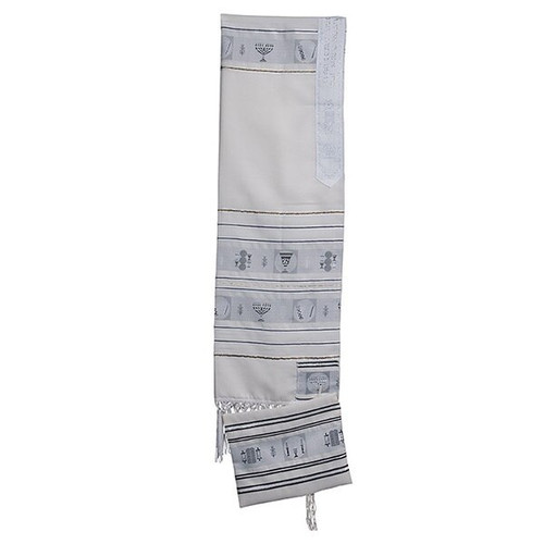 24 White Talit with silver  Stripes  no bag