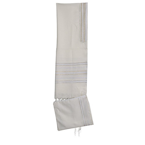 18 White Talit with Gold & silver  Stripes  no bag