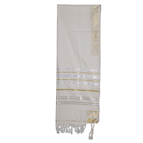 18 White Talit with Gold & Large silver  Stripes  no bag