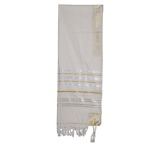 24 White Talit with Gold & Large silver  Stripes  no bag