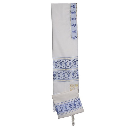 18 White Talit with Etrog Design on blue Stripes  no bag
