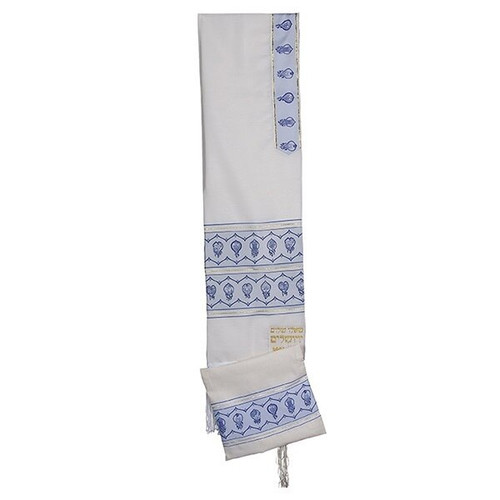 24 White Talit with Etrog Design on blue Stripes  no bag