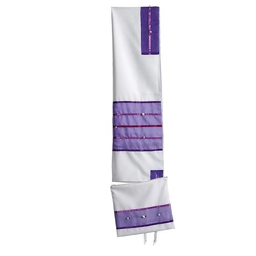 White Talit with Purple Stripes  no bag