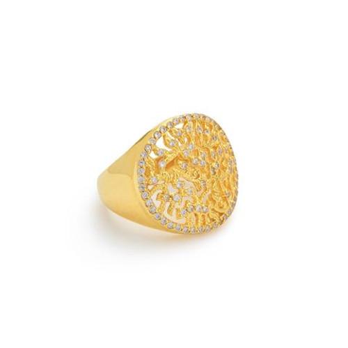 Tehila Yellow Gold Shema Ring,