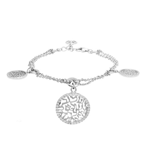 Lona - Shema-Or Silver bracelets with triple charms.