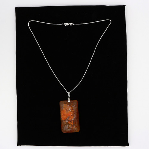 John Bead Semiprecious Orange Color Rectangle Stone Pendant on Chain