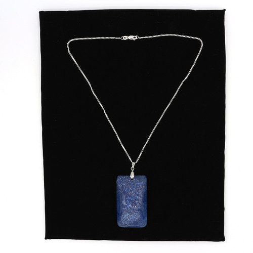 John Bead  Semiprecious Stone Pendant Rectangle Blue With Silver Plated Necklace