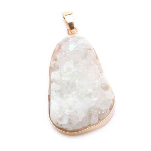 Jewelry Pendant - Agate Druzy - Clear Aurora Borealis with Goldplated Necklace in Gift Box